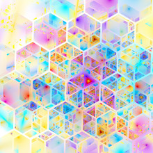 Abstract Pink, Yellow And Blue Mosaic Background. Psychedelic Hexagonal Fractal Texture. Digital Art. 3D Rendering.