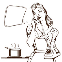 Retro Young Woman Talking On Phone In Her Kitchen.Vector Graphic Illustration For Text