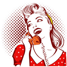 Retro Portrait Of Young Woman Talking On Phone