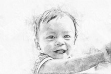 Drawing Of Asian Baby Girl.