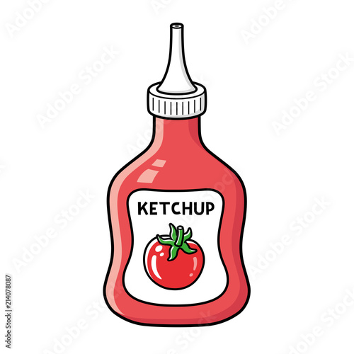 Fototapeta Tomato ketchup bottle isolated. obraz