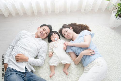 Carta da parati 家族イメージ、赤ちゃんと両親、寝る