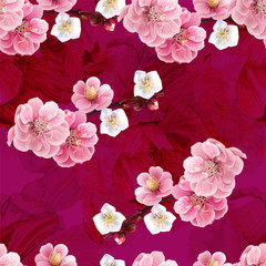 FototapetaChinese plum and peony flowers pink color seamless background pattern,vector illustration