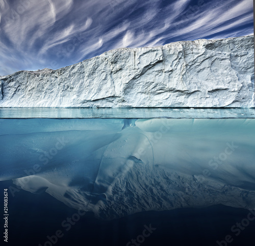 Fotobehang Gletsjers glacier with above and underwater view taken in greenland.
