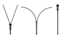 Vector Illustration. Zippered Lock And Unlock. Zipper Buttoned. Closed And Open Zipper. Set