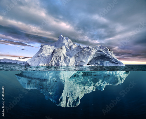 fototapeta na szkło iceberg with above and underwater view