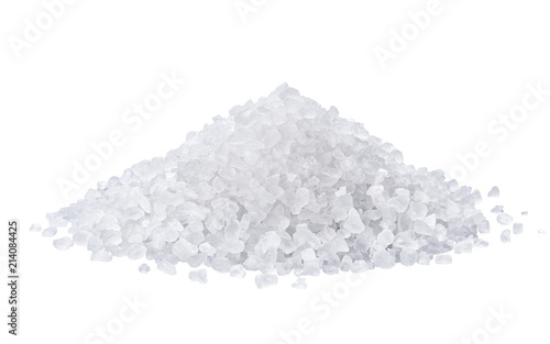 Poster Aromatische heap of salt isolated on white background.