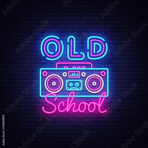Zdjęcie XXL Old School neon sign vector. Retro Music Design template neon sign, Retro Style 80-90s, celebration light banner, tape recorder neon signboard, nightly bright advertising, light inscription. Vector