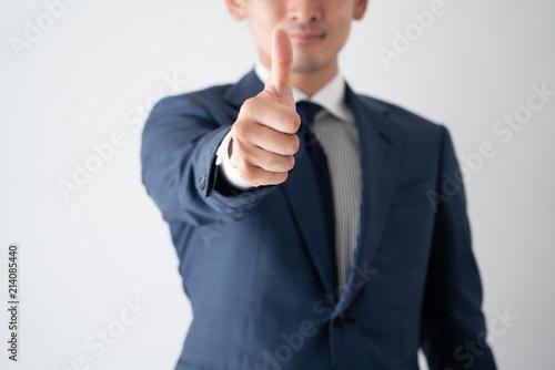 ビジネスマン、グッド、good、サムズアップ、Thumbs up Canvas Print