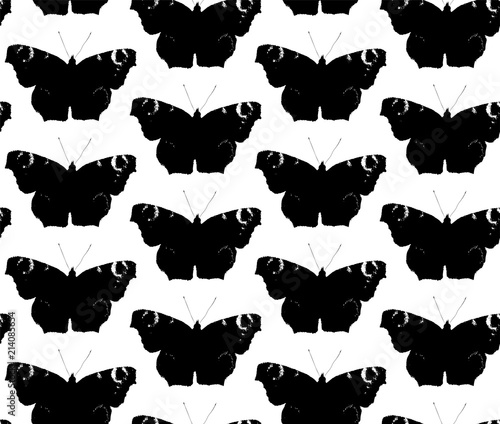 Foto op Aluminium Vlinders in Grunge Seamless texture with silhouette of black butterflies. Repeating background. Tile pattern.
