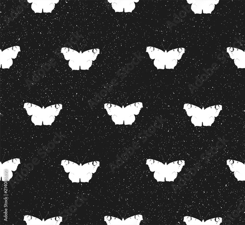 Foto op Aluminium Vlinders in Grunge Seamless texture with silhouette of white butterflies. Repeating background. Tile pattern.