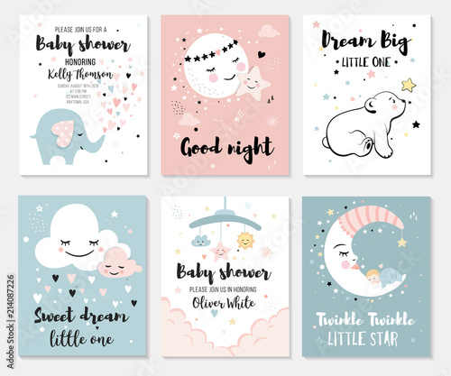 Little bear, elephant, moon and star, cute characters set, posters for baby room, greeting cards, kids and baby t-shirts and wear Fotomurales