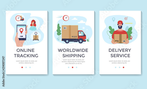 Delivery service banner, mobile app templates, concept vector illustration flat Wallpaper Mural