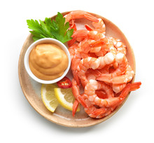 Plate Of Boiled Prawns And Sal...