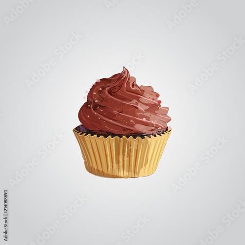 Cupcake. Chocolate cupcake vector illustration Poster