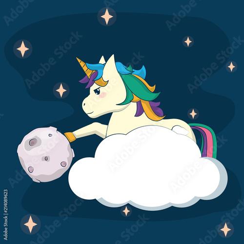 Cute unicorn fantasy cartoon