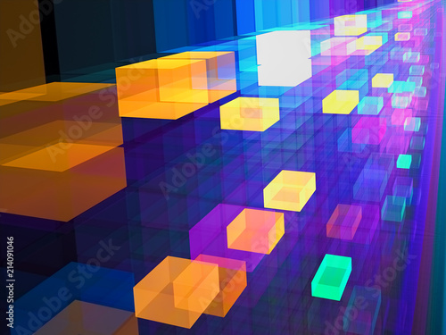 Abstract colored cubes digitally generated image