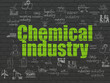 canvas print picture - Industry concept: Painted green text Chemical Industry on Black Brick wall background with Scheme Of Hand Drawn Industry Icons