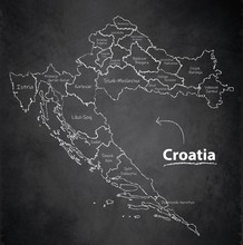 Croatia Map Separate Region Individual Names Blackboard Chalkboard Vector