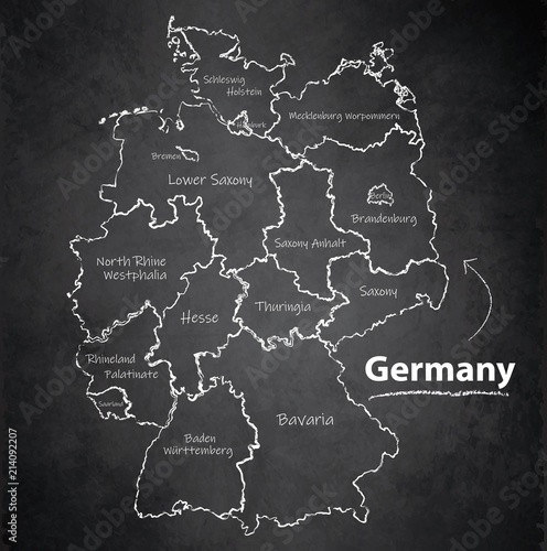 Fotografie, Obraz Germany map separate region individual names blackboard chalkboard vector