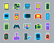 Device Patch Sticker Icons Vector Set
