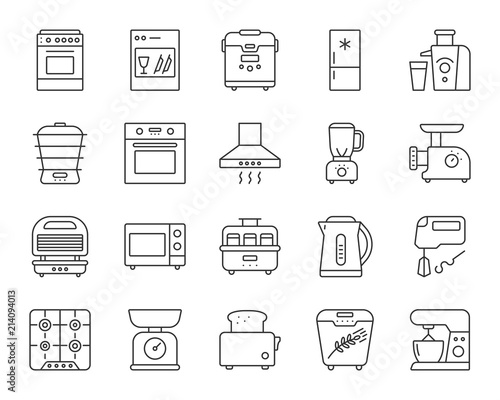 Fototapeta Kitchen Appliance simple line icons vector set obraz