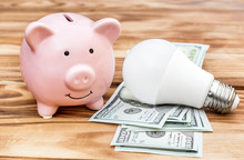 Piggy Bank With Light Bulb And Money On Wooden Background.