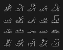Shoes Simple White Line Icons Vector Set