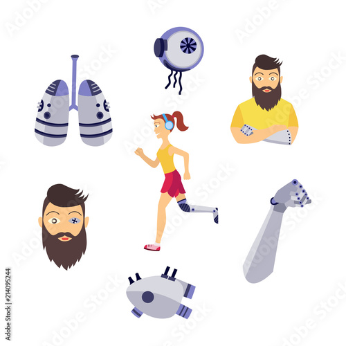 005b5da4 Young girl, jogging in headphones with iron robotic leg handicap, hipster  bearded man character with eye, arm prosthesis, robotic lengs, eyeball an  heart ...