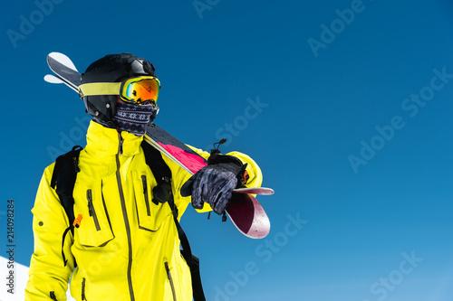 Obraz na plátně Skier standing on a slope