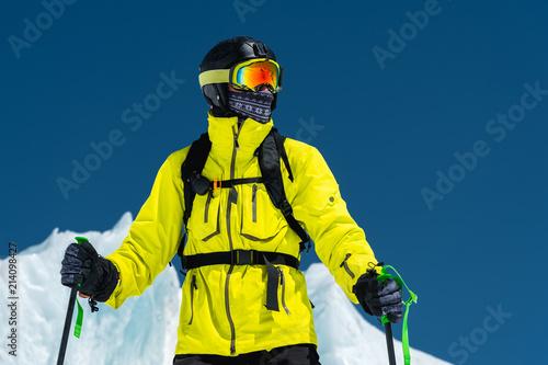 Skier standing on a slope Wallpaper Mural