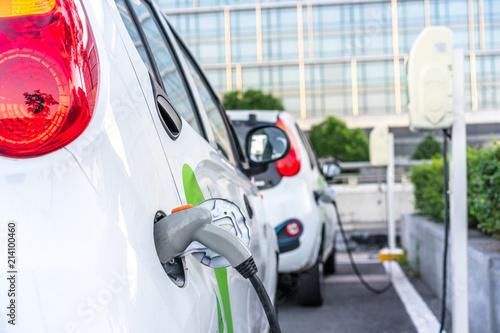 electric car charging in the station Fototapeta
