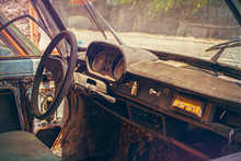 Old Abandoned Car Interior Cov...