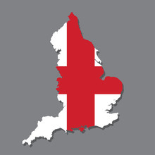 England Flag And Map On The Grey Background.