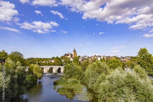 Foto auf Gartenposter Stadt am Wasser old lahn bridge and view to famous Dome of Wetzlar