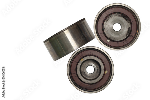 Used part and tool Idler Pulley in the car for in with Tensioner Control rod on isolate white background and clipping path Wallpaper Mural