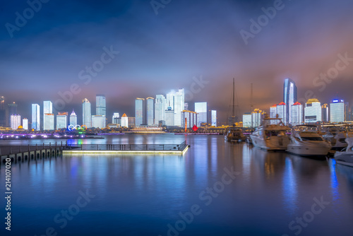 Garden Poster London Qingdao Bay yacht wharf and urban architectural landscape