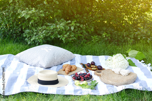 Deurstickers Picknick Picnic Instagram Style Food Fruit Bakery Berries Green Grass Summer Time Rest Background Sunlight