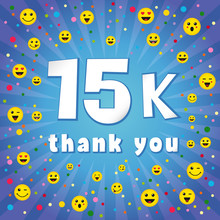 Thank You 15000k Followers. Congratulating Online Thanks, Image For Net Friends, Customers 15 000k Likes. Isolated Sign, Graphic Elements. Blue Colour Background, White Paper Text. 15 % Percent Off.