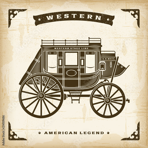 Obraz na plátne Vintage Western Stagecoach