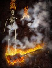 Bass Guitar In Fire