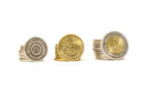 Coins Isolated On White Background, Egyptian Pounds