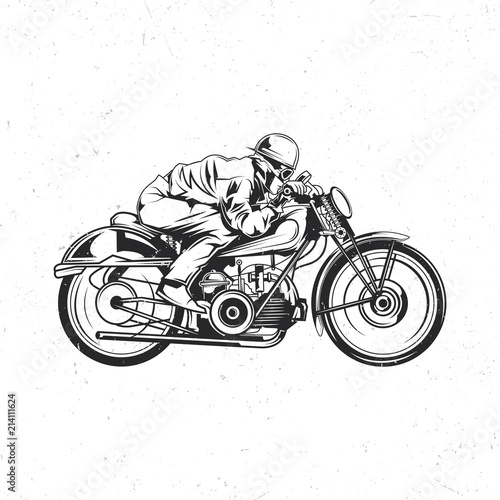 Stampa su Tela Biker riding on vintage motorcycle