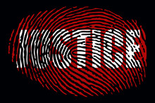 """Fingerprint With The Word """"JUSTICE"""""""