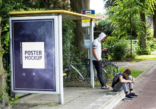 Bus Stop Kiosk Adver Mockup