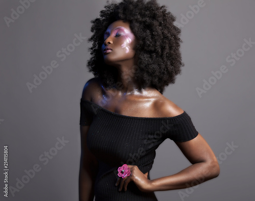 Afro and Flower beauty with...