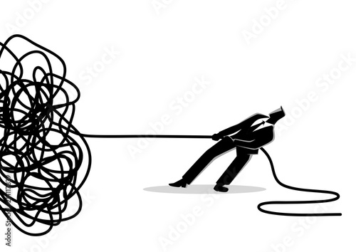 Fotografie, Obraz Businessman trying to unravel tangled rope or cable