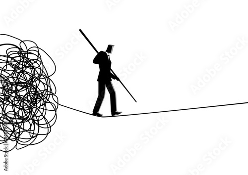 Businessman walking away carefully from tangled rope Canvas Print