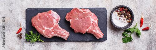 Fotografia Raw meat on slate board