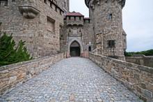 Stone Bridge In Medieval Kreuzenstein Castle In Leobendorf Village Near Vienna, Austria